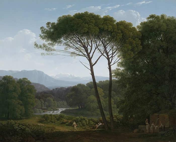 Genius Loci Circolo dei Tignosi Italiaans Landschap met Pijnbomeni Hendrik Voogd1832
