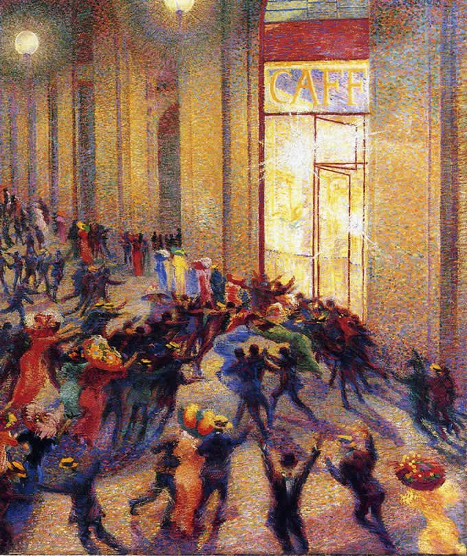 Gourmet Police Umberto Boccioni Rissa in Galleria 1910